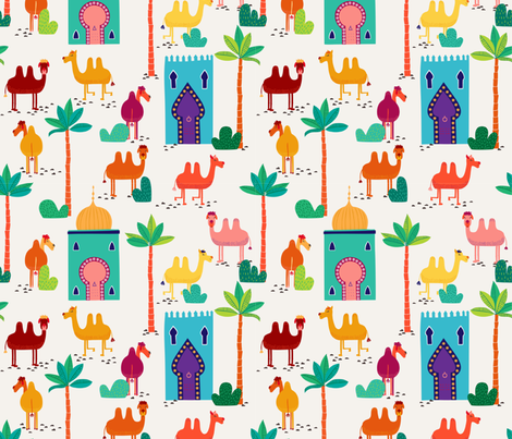 Busy morning in Marrakesh - big fabric by lahna_winter on Spoonflower - custom fabric