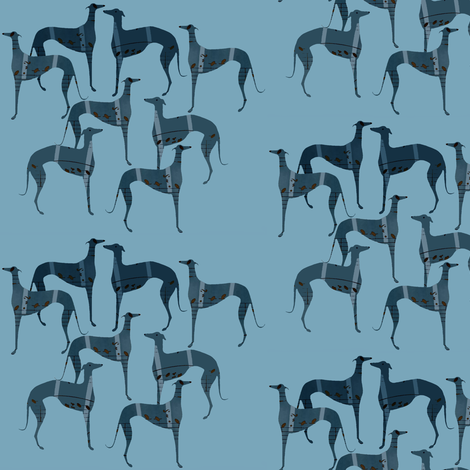 """""""poets and philosophers"""",   blue greyhounds fabric by nikitasaami on Spoonflower - custom fabric"""