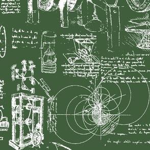 Da Vinci's Sketchbook // Hunter Green // Large