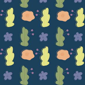 Simple flowers and leaves.