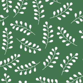 White laurel branches on dark green