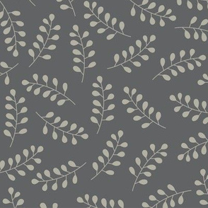 Grey leaves on dark grey