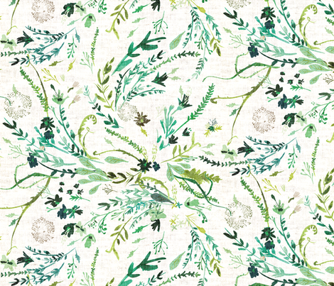 Fable Spring Leaves  (LRG) white fabric by nouveau_bohemian on Spoonflower - custom fabric