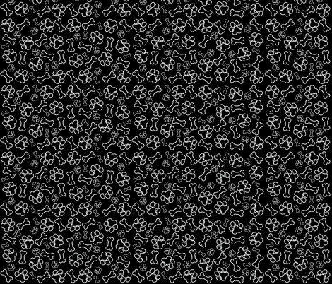 Paws and Bones Outline Black fabric by olly's_corner on Spoonflower - custom fabric