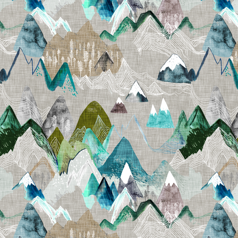 Call of the Mountains (SMAL) (olive)  fabric by nouveau_bohemian on Spoonflower - custom fabric