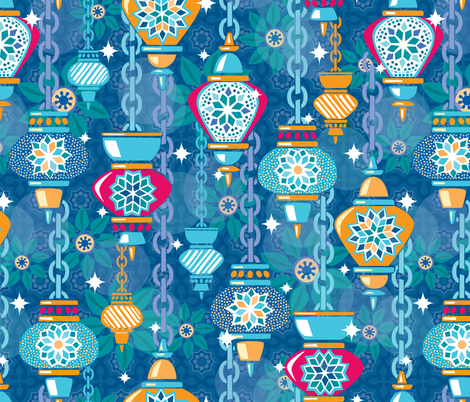 Midnight Marrakesh Lanterns fabric by hollybender on Spoonflower - custom fabric