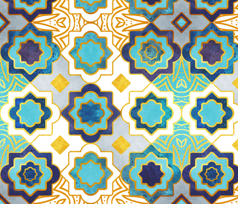 Marrakesh gold and blue geometry inspiration fabric by selmacardoso on Spoonflower - custom fabric