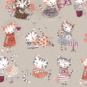 busy cats pastel colour