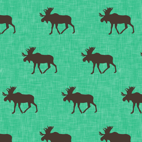 (small scale) moose on light green linen C18BS fabric by littlearrowdesign on Spoonflower - custom fabric