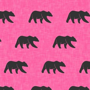 (small scale) bears on hot pink linen C18BS