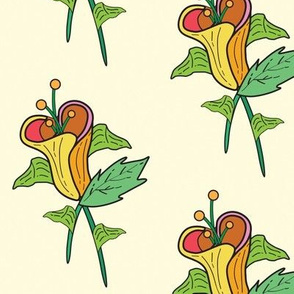 Imaginary Yellow Flowers, Vintage Inspired Make Believe Leaves and Flower Petals