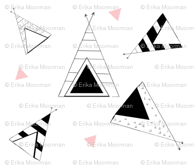 Tee Pee Nation - LARGE 7- petal black and white