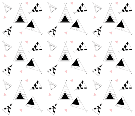 Tee Pee Nation - LARGE 7- petal black and white fabric by drapestudio on Spoonflower - custom fabric