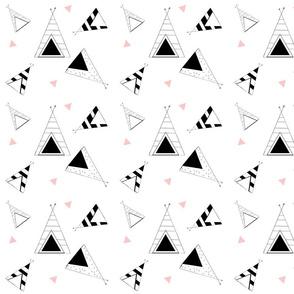 Tee Pee Nation - LARGE 7- petal black and white