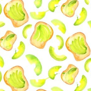 16-13B Avocado Toast Watercolor Green White Lime Breakfast Food Small _ Miss Chiff Designs