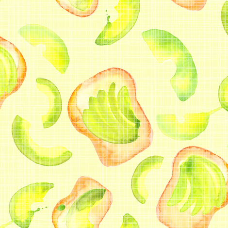 16-13A Avocado Toast Watercolor Green White Lime Breakfast Food Large _ Miss Chiff Designs  fabric by misschiffdesigns on Spoonflower - custom fabric