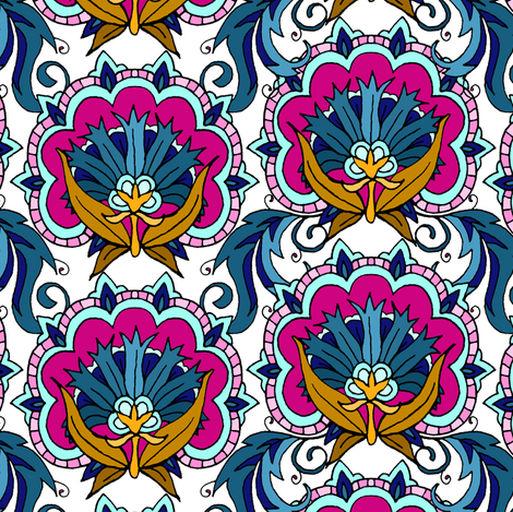 Fancy Tile Flowers fabric by pond_ripple on Spoonflower - custom fabric