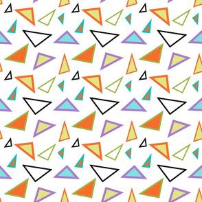 Multicolored Retro Triangles on White