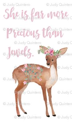 """21""""x36"""" She is Far More Precious Deer"""
