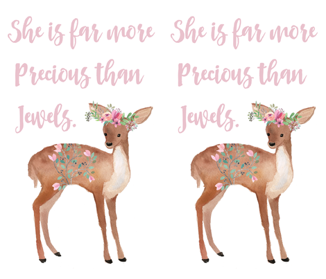 "21""x36"" She is Far More Precious Deer fabric by shopcabin on Spoonflower - custom fabric"
