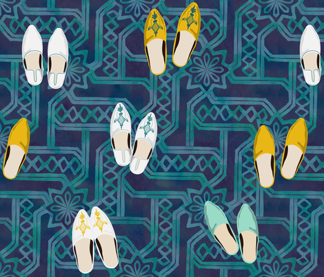A Gathering - Marrakesh - Watercolor-18x18 fabric by fernlesliestudio on Spoonflower - custom fabric