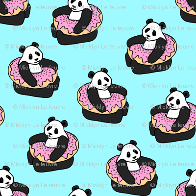 A Very Good Day - pandas & donuts on aqua - tiny print