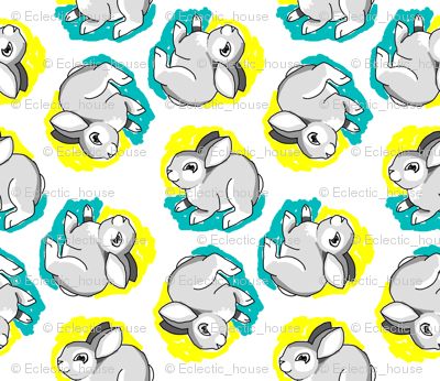 1950's Style Bunny Rabbit in Yellow and Turquoise