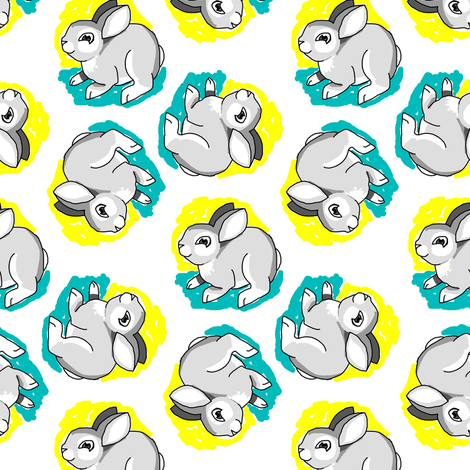 1950's Style Bunny Rabbit in Yellow and Turquoise fabric by eclectic_house on Spoonflower - custom fabric
