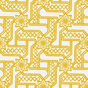 Marrakesh Maze -Bright Yellow, Chalk