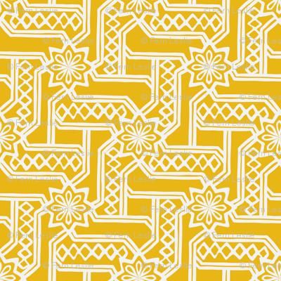 Marrakesh Maze -Chalk, Bright Yellow