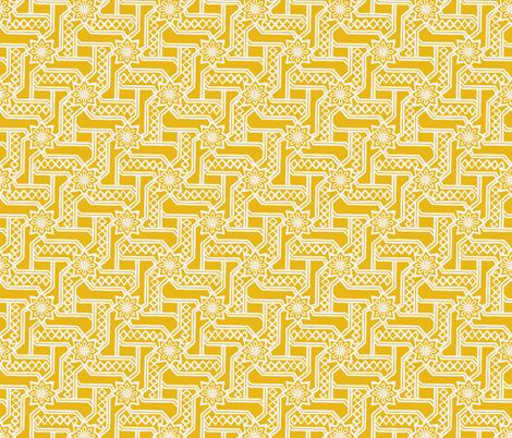 Marrakesh Maze -Chalk, Bright Yellow fabric by fernlesliestudio on Spoonflower - custom fabric