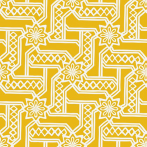 Marrakesh Maze -Chalk, Bright Yellow