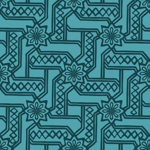 Marrakesh Maze - Navy, Turquoise