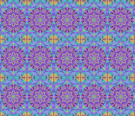 Moonlight on the Starry Garden Gate on Dark Mulberry fabric by rhondadesigns on Spoonflower - custom fabric