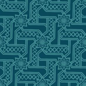 Marrakesh Maze - Turquoise, Navy