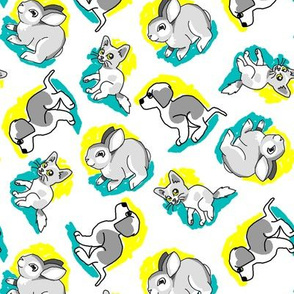 1950's Style Bunny  Kitten and Puppy in Yellow and Turquoise