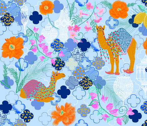 Visit Morocco - Tour Marrakesh (baby blue) fabric by helenpdesigns on Spoonflower - custom fabric