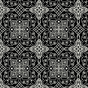 Marrakesh Pottery Tile, Black and Bone, Medium