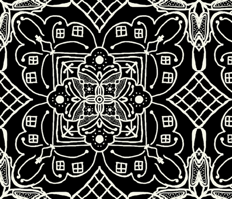 Marrakesh Pottery Tile, Black and Bone, XL fabric by palifino on Spoonflower - custom fabric