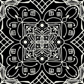 Marrakesh Pottery Tile, Black and Bone, XL
