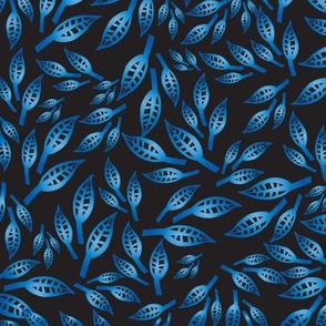 Blue gradient leaves on black