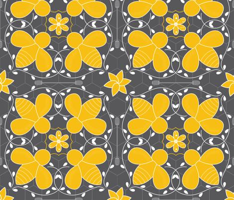 Honey Bee Moroccan Tile fabric by karenlizzie on Spoonflower - custom fabric