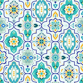 Marrakech Lantern Tiles // Turquoise and Gold Geometric Moroccan Style Print