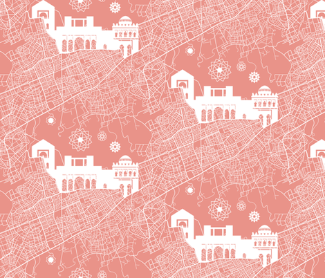 Marrakesh Streets and Silhouettes fabric by meduzy on Spoonflower - custom fabric