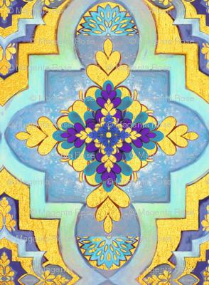 Moroccan gold & blue  tiles  // Moroccan Tiles