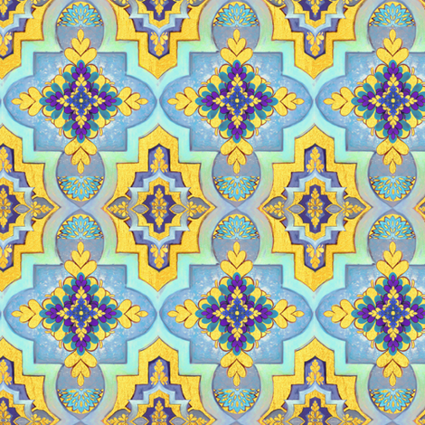 Moroccan gold & blue  tiles  // Moroccan Tiles fabric by magentarosedesigns on Spoonflower - custom fabric
