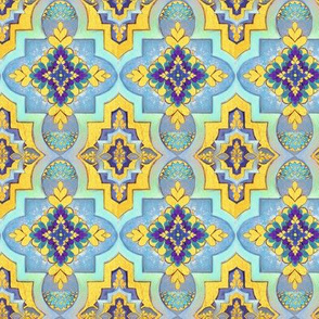 Marrakesh gold & blue  tiles  // Moroccan Tiles