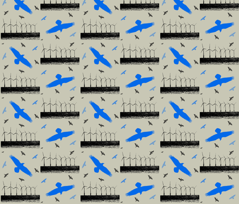 Air - birds and wind turbines fabric by redthanet on Spoonflower - custom fabric