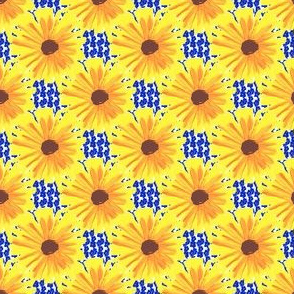 Sunflowers on Bluets - Special Request