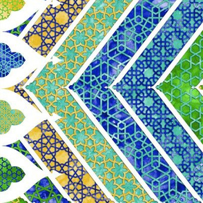 Moroccan Watercolor Lattice Chevrons Boarder